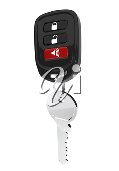 Keys to the car with an automatic control isolated on white background. The transponder. Vector illustration.