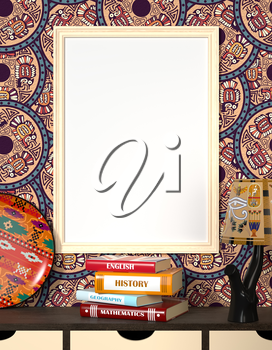 Mock up interior. Books on a wooden table. Bright light dishes and a traditional Egyptian ornament. Light wooden frame with a blank canvas on an abstract background with tribal ornaments. 3d rendering