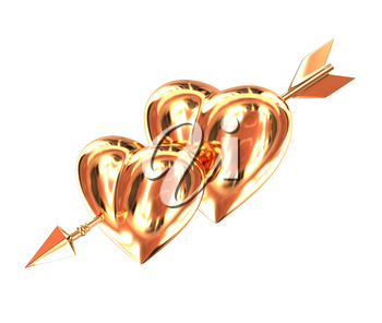 Two gold heart pierced by a golden arrow isolated on white background. Cupid's arrow. 3d illustration.