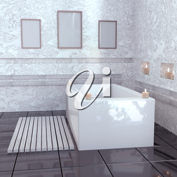 Modern bathroom with ceramic bath with candles. 3D rendering mock up