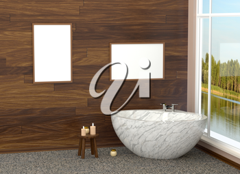 Luxurious white modern bathroom in the bathroom with tiles, marble, large window. Bathroom with a landscape. 3D rendering