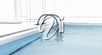 Royalty Free Clipart Image of a Swimming Pool in 3D