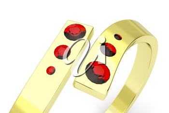Royalty Free Clipart Image of a Golden Ring With Rubies
