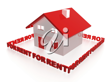 Royalty Free Clipart Image of a House For Rent