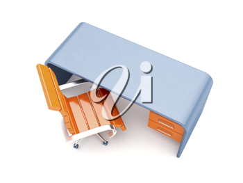 Royalty Free Clipart Image of an Orange Chair and a Blue Desk