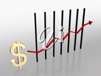 Royalty Free Clipart Image of a Chart With a Dollar Sign