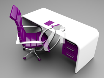 Royalty Free Clipart Image of a Desk and Office Chair