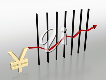 Royalty Free Clipart Image of a Yen Symbol and Currency Chart