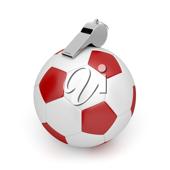 Soccer ball and metal referee whistle