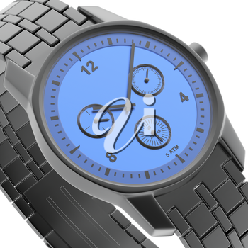 Close-up view of blue-black watch, 3d rendered image