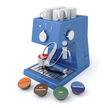 Blue coffee maker with coffee and tea capsules