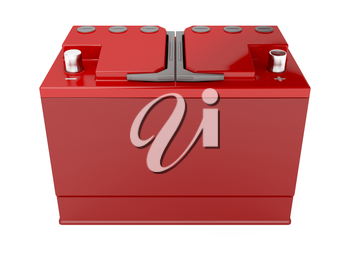 Red car battery on white background, 3d rendered image