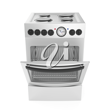 Inox electric cooker on white background