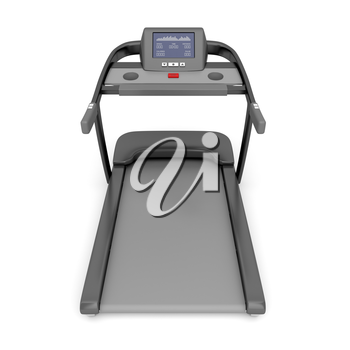 Back view of treadmill machine on white background