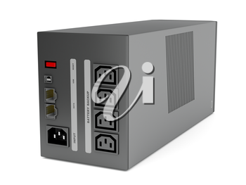 Back view of uninterruptible power supply on white background