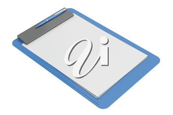 Royalty Free Clipart Image of a Clipboard and Paper
