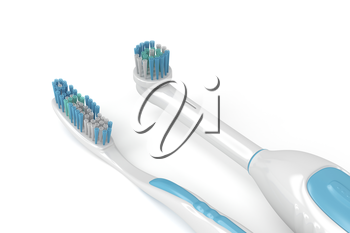Royalty Free Clipart Image of an Electric Toothbrush and a Classic Toothbrush