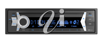 Car audio player isolated on white