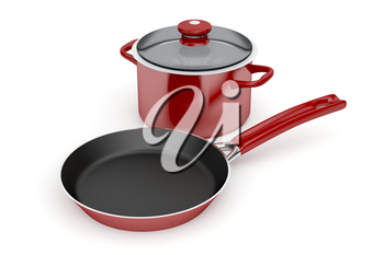 Frying pan and cooking pot on white background