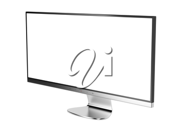 Ultra wide (21:9) computer monitor with white screen, isolated on white