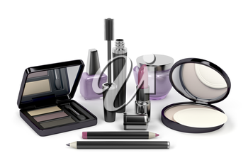 Makeup and cosmetic set with: eye shadow, face powder, lipstick, mascara, nail polish, cream, eye and lip liners