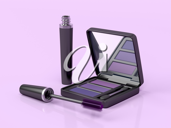 Mascara and eye shadow on pink background