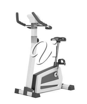 Exercise bike on white background