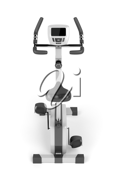 Stationary bicycle on white background, back view