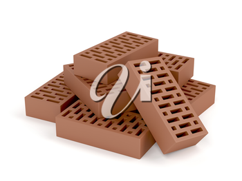 Clay bricks on white background
