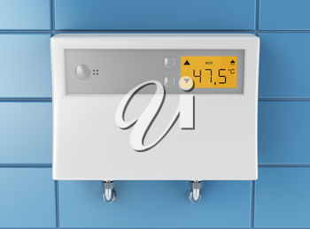 Automatic water heater attached on blue tiled wall
