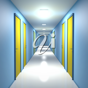 Corridor with closed doors in office, residential building or hotel