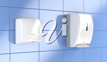 Automatic paper towel dispenser and hand dryer in public toilet
