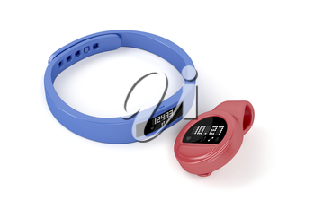 Wristband and clip-on activity trackers on white background