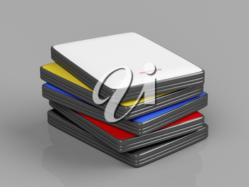 Stack with portable hard drives with different colors on shiny gray background
