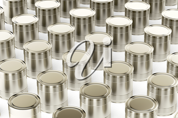 Many tin cans on white background