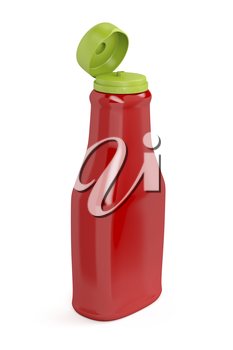 Open ketchup bottle on white background