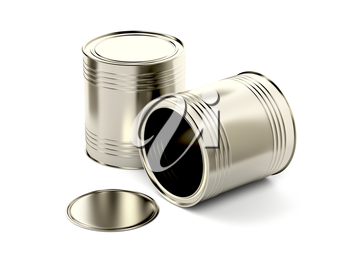 Two tin cans on white background