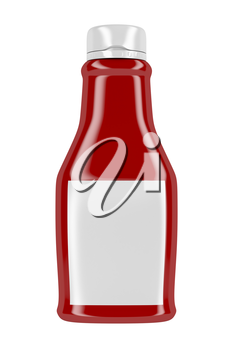 Front view of ketchup bottle with blank label, isolated on white