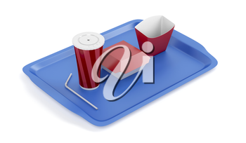 Plastic tray with empty soda cup, sandwich and french fries boxes