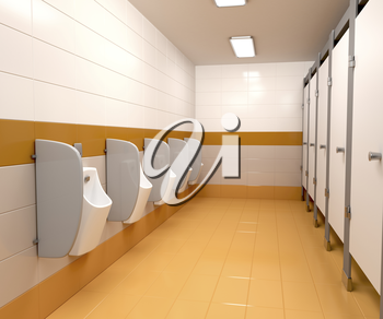 3D illustration of men's public toilet