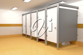 3D illustration of public toilet