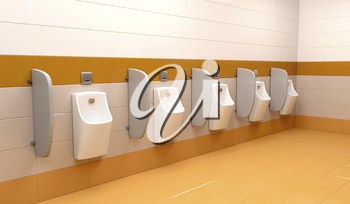 Row of urinals at public toilet