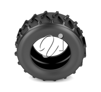Tractor tire on white background