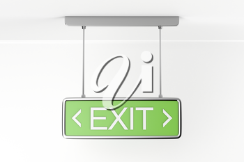 Emergency exit sign in the building