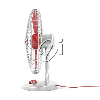 Side view of electric fan on white background