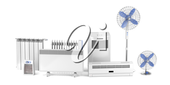 Electric heating and cooling devices on white background