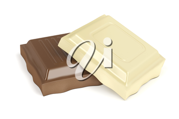 White and brown chocolate pieces on white background