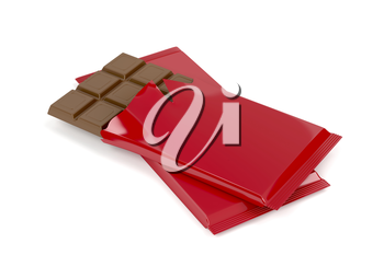Chocolate bars on white background