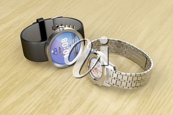 Smart and mechanical wrist watches on wooden table