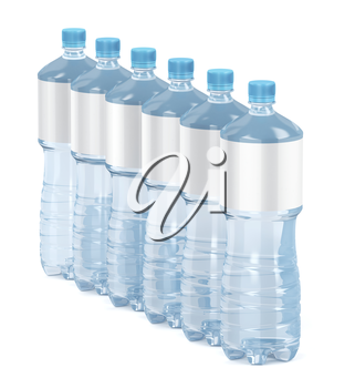 Row of six water bottles on white background